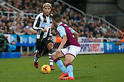 Newcastle United defender DeAndre Yedlin (22) runs at the defence during the EFL Sky Bet Championship match between Newcastle United and Aston Villa at St. James's Park, Newcastle, England on 20 February 2017. Photo by Simon Davies.
