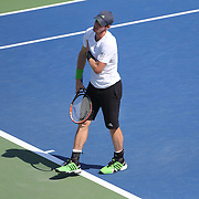 Andy Murray, Great Britain, feels an injury while playing against Robin Haase, The Netherlands, on Louis Armstrong Stadium during the US Open Tennis Tournament, Flushing, New York, USA. 25th August 2014. Photo Tim Clayton