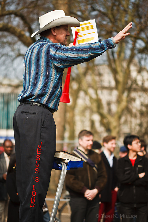 A man speaks to the crowd at Speaker's Corner in Hyde Park, London, England.