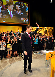 © Licensed to London News Pictures. 26/09/2012. Brighton, UK Deputy Prime Minister and leader of the Liberal Democrat Party, Nick Clegg, arrives with his wife Miriam Gonzalaz Durantez to deliver his keynote speech at the Liberal Democrat Conference at the Brighton Centre in Brighton today 25th September 2012. Photo credit : Stephen Simpson/LNP