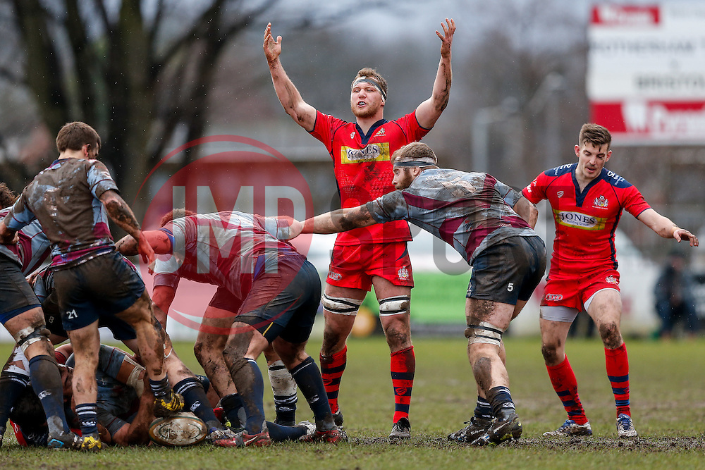 Bristol Rugby Flanker Nick Koster shows his frustration to the referee - Mandatory byline: Rogan Thomson/JMP - 06/02/2016 - RUGBY UNION - Clifton Lane - Rotherham, England - Rotherham Titans v Bristol Rugby - Greene King IPA Championship.