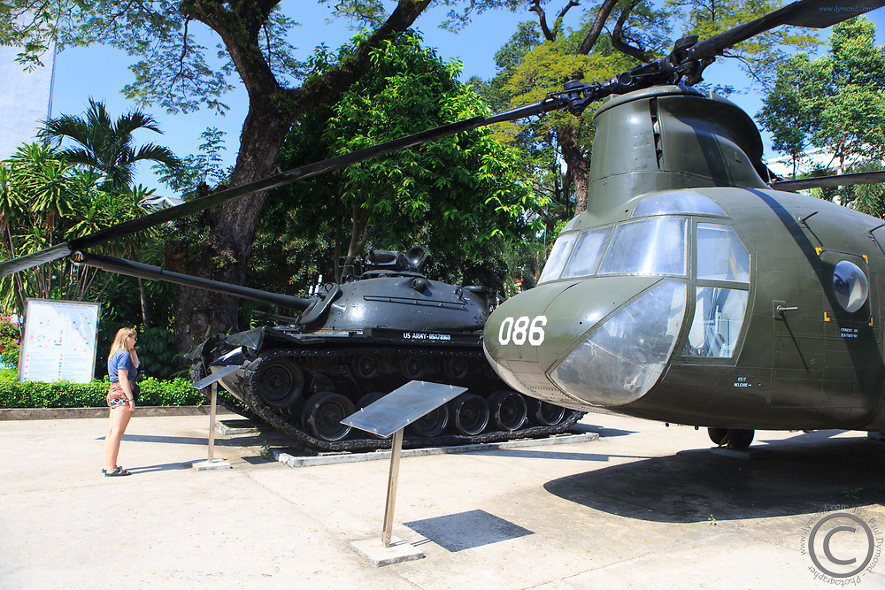 A military helicopter on display at the War Remnants Museum in Saigon, Vietnam