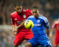 20.11.2011, Stamford Bridge Stadion, London, ENG, PL, FC Chelsea vs FC Liverpool, 12. Spieltag, im Bild Liverpool's Glen Johnson in action against Chelsea's Florent Malouda during the Premiership match at Stamford Bridge, London, United Kingdom on 20/11/2011. EXPA Pictures © 2011, PhotoCredit: EXPA/ Sportida/ David Rawcliff..***** ATTENTION - OUT OF ENG, GBR, UK *****