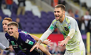 Thomas Didillon celebrates after winning the Jupiler Pro League matchday 4 between Rsc Anderlecht and Excel Mouscron on August 17, 2018 in Brussels, Belgium, Photo by Vincent Van Doornick / Isosport/ Pro Shots / ProSportsImages / DPPI