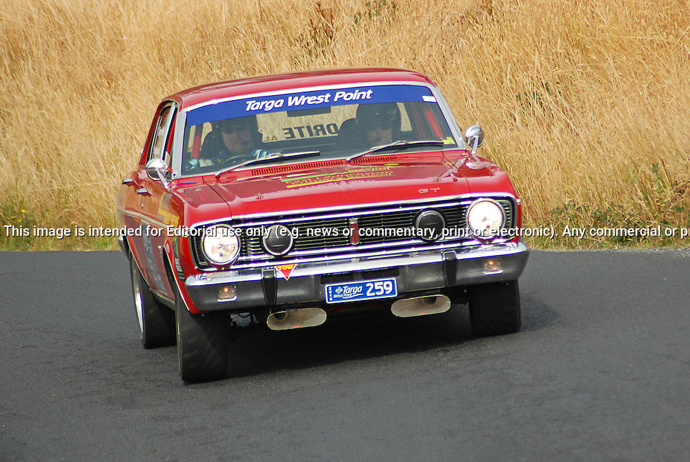 259 Terry Harper & Matthew Challis.1968 Ford Falcon.Day 2.Targa Wrest Point 2010.Southern Tasmania.31st of January 2010.(C) Sarah Biggin.Use information: This image is intended for Editorial use only (e.g. news or commentary, print or electronic). Any commercial or promotional use requires additional clearance.