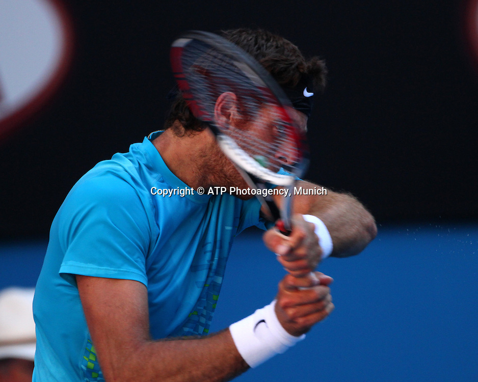 Tennis. Australian Open. Melbourne. Australia. Tuesday 24.1.2012.<br /> Roger FEDERER (Sui) defeated Juan Martin DEL POTRO (Arg) in three sets.<br /> &copy; ATP/ Damir IVKA<br /> <br /> - TENNIS Australian Open 2012 Melbourne - Rod Laver Arena -  - Australien - AUSTRALIE - copyright &copy; ATP Damir IVKA
