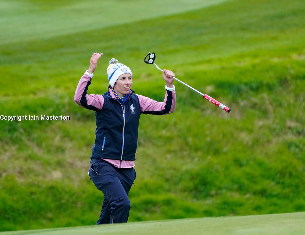 Auchterarder, Scotland, UK. 14 September 2019. Saturday afternoon Fourballs matches  at 2019 Solheim Cup on Centenary Course at Gleneagles. Pictured; Carlota Ciganda of Team Europe urges spectators to make some noise on the 11th green. Iain Masterton/Alamy Live News