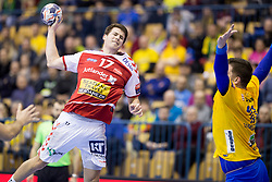 Ellebaek Tobias Hansesgaard of Aalborg Handbold during handball match between RK Celje Pivovarna Lasko (SLO) and Aalborg Handbold (DEN) in VELUX EHF Champions League, on February 24, 2018 in Dvorana Zlatorog, Celje, Slovenia. Photo by Urban Urbanc / Sportida