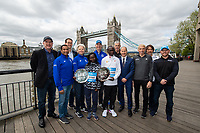 Mary Keitany KEN and Eliud Kipchoge KEN winners of the Abbott World Marathon Majors Series XI with representatives of Abbott and the various races at a photocall and press conference at the Guoman Tower Hotel for the winners of the Virgin Money London Marathon, 23 April 2018.<br /> <br /> Photo: Thomas Lovelock for Virgin Money London Marathon<br /> <br /> For further information: media@londonmarathonevents.co.uk