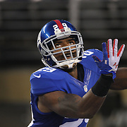 Michael Cox, New York Giants, receives a kick off during the New York Giants Vs Green Bay Packers, NFL American Football match at MetLife Stadium, East Rutherford, New Jersey, USA. 17th November 2013. Photo Tim Clayton