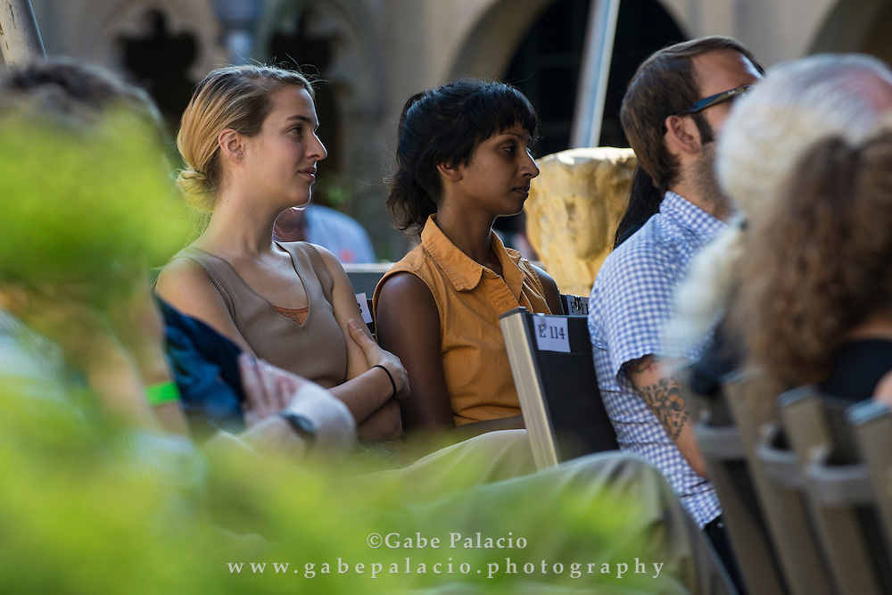 Audience in Spanish Courtyard at Caramoor in Katonah New York on July 20, 2014. <br /> (photo by Gabe Palacio)