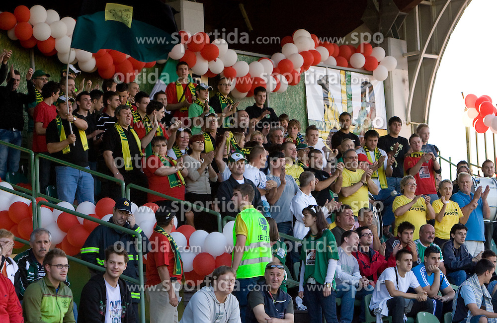 Fans of Rudar at 1st Round of Europe League football match between NK Rudar Velenje (Slovenia) and Trans Narva (Estonia), on July 9 2009, in Velenje, Slovenia. Rudar won 3:1 and qualified to 2nd Round. (Photo by Vid Ponikvar / Sportida)