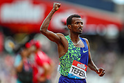 Samuel TEFERA of Ethiopia, winner of the Ermsley Carr Mile during the Muller Anniversary Games 2019 at the London Stadium, London, England on 21 July 2019.