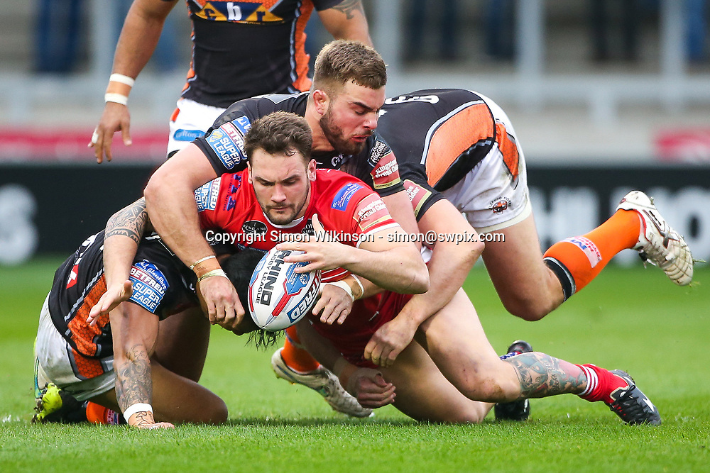 Picture by Alex Whitehead/SWpix.com - 19/03/2017 - Rugby League - Betfred Super League - Salford Red Devils v Castleford Tigers - AJ Bell Stadium, Salford, England - Salford's George Griffin is tackled by Castleford's Ben Roberts, Andy Lynch and Mike McMeeken.