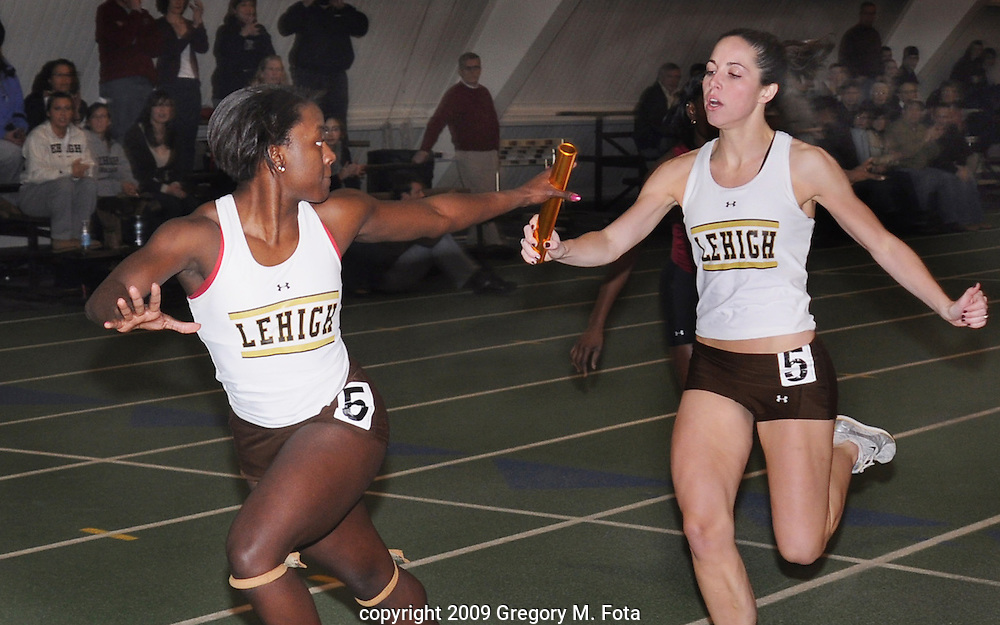 WOMENS TRACK--relay race. Lehigh vs. Lafayette Track Meet-at Rauch Field House, Lehigh University Goodman Campus,Bethlehem,PA. 01312009