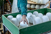 "Italy, Veneto, Canton, glassblowing factory ""Vetrofond"" producing lamps for Foscarini, sand blast treatment"