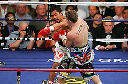 There's no question who is #1 pound for pound. Manny Pacquiao (49-3-2, 37 KOs) destroyed IBO light welterweight Ricky Hatton (45-2, 32 KOs) on Saturday night at the MGM Grand Garden Arena in Las Vegas. Hatton came out aggressively but was dropped by twice by Pacquiao in round one. In round two, Pacquiao dropped Hatton for the count with a left to the chin. Time was 2:59. Hatton was down for several minutes.