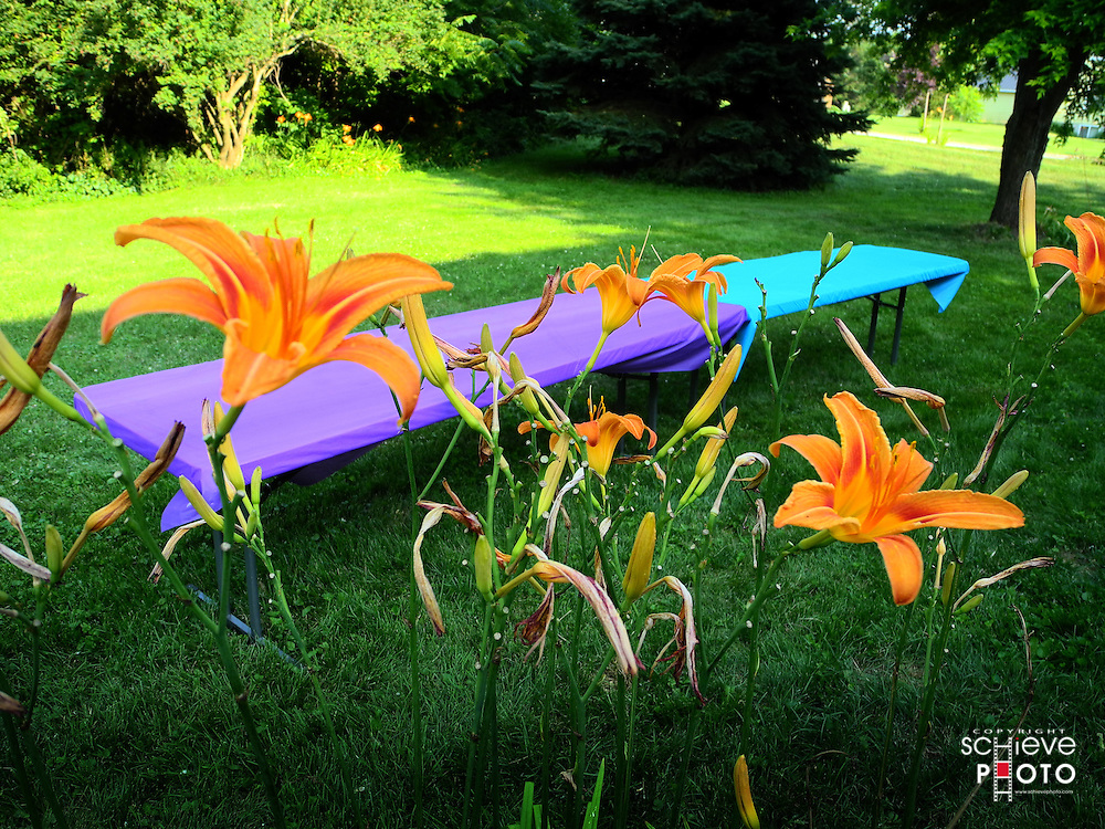 A couple of colorfully cover tables behind orange flowers.