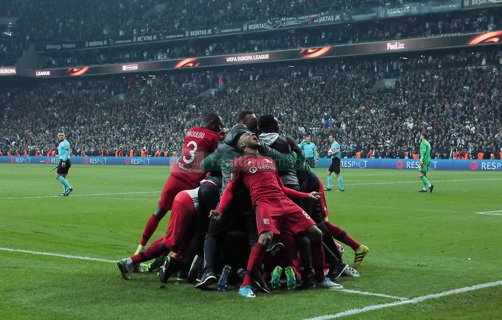 April 21, 2017 - Istanbul, Turkey - Olympique Lyon's players celebrate their victory at the end of the UEFA Europa League second leg quarter final football match between Besiktas and Olympique Lyon (OL) on April 20, 2017, at the Vodafone arena stadium in Istanbul. (Credit Image: © Tolga Adanali/Depo Photos via ZUMA Wire)