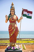 KANYAKUMARI, INDIA - 2nd October 2019 - The Baharat Mata (also known as mother India) is the national personification of India as a mother Goddess, usually depicted wearing a saffron sari and holding the Indian national flag.