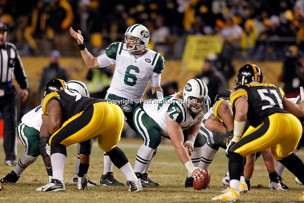 New York Jets quarterback Mark Sanchez (6) motions toward his own bench during the NFL 2011 AFC Championship playoff football game against the Pittsburgh Steelers on Sunday, January 23, 2011 in Pittsburgh, Pennsylvania. The Steelers won the game 24-19. (©Paul Anthony Spinelli)