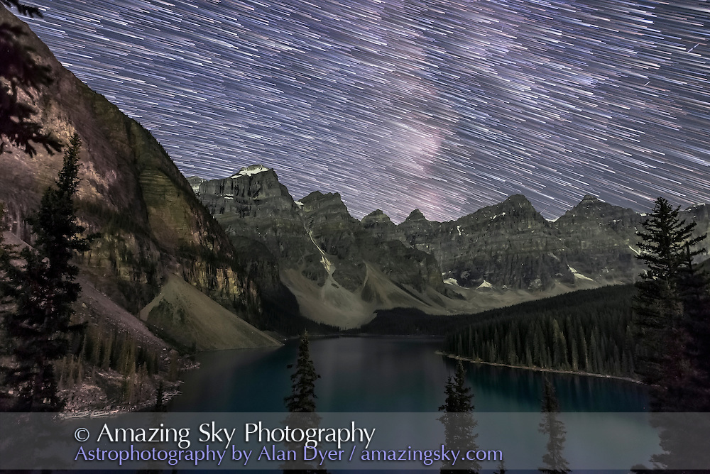 Star trails over Moraine Lake from Aug 31, 2016. This is a stack of about 300 exposures for the sky and 8 for the ground to smooth noise. Each exposure was 15 seconds at f/2 with the Sigma 20mm lens. Master dark frame applied in processing. <br /> <br /> Stacking with Advanced Stacker Plus actions in Photoshop.