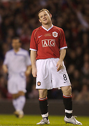 Manchester, England - Tuesday, March 13, 2007: Manchester United's Wayne Rooney celebrates scoring the opening goal against Europe XI during the UEFA Celebration Match at Old Trafford. (Pic by David Rawcliffe/Propaganda)