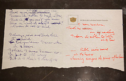 "© Licensed to London News Pictures. 22/05/2013. London, UK. The original lyrics to the Beatles song 'Strawberry Fields' written on Lufthansa notepaper are seen after being presented to the British Library by Beatles biographer Hunter Davies in London today (22/05/2013). The manuscript, along with others and correspondence between John Lennon and Mr Davies, have been donated to the library under the ""lifetime giving"" scheme. Photo credit: Matt Cetti-Roberts/LNPPhoto credit: Matt Cetti-Roberts/LNP"
