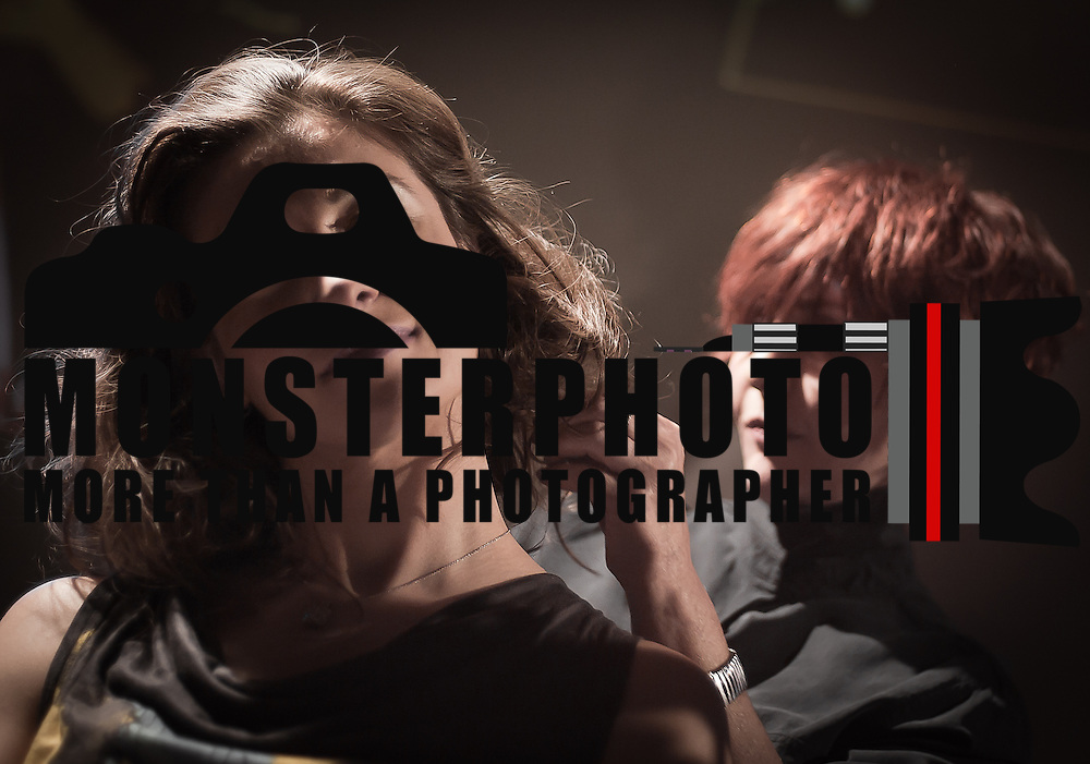 02/12/12 West Chester PA: Hairstylist Nadine Manne from RICHARD NICHOLAS studios in Philadelphia working on model Irian Moisiu hair during Open Chair 11 Sunday, Feb. 12, 2012 at The Note in West Chester Pennsylvania.<br /> <br /> Special to Monsterphoto/SAQUAN STIMPSON