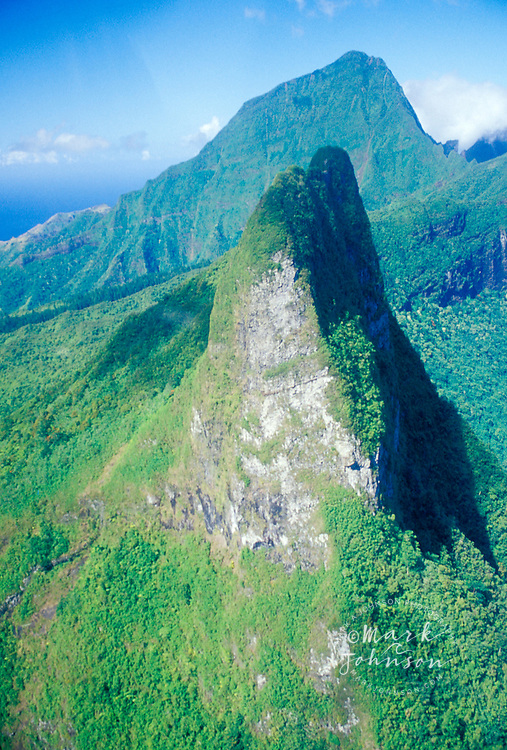 Aerial of interior mountains of Moorea island, French Polynesia