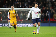 Erik Lamela of Tottenham Hotspur (11) dribbling during the Premier League match between Tottenham Hotspur and Brighton and Hove Albion at Wembley Stadium, London, England on 13 December 2017. Photo by Matthew Redman.