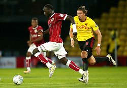 Famara Diedhiou of Bristol City goes past Sebastian Prodl of Watford - Mandatory by-line: Robbie Stephenson/JMP - 22/08/2017 - FOOTBALL - Vicarage Road - Watford, England - Watford v Bristol City - Carabao Cup