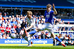 Sam Gallagher of Birmingham City challenges Tim Ream of Fulham - Mandatory by-line: Robbie Stephenson/JMP - 06/05/2018 - FOOTBALL - St Andrew's Stadium - Birmingham, England - Birmingham City v Fulham - Sky Bet Championship