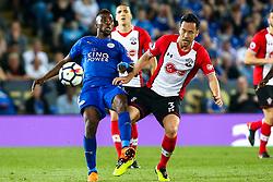 Maya Yoshida of Southampton tackles Kelechi Iheanacho of Leicester City - Mandatory by-line: Robbie Stephenson/JMP - 19/04/2018 - FOOTBALL - King Power Stadium - Leicester, England - Leicester City v Southampton - Premier League
