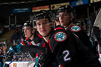 KELOWNA, CANADA - OCTOBER 4: James Hilsendager #2 of  the Kelowna Rockets stands on the bench against the Victoria Royals on October 4, 2017 at Prospera Place in Kelowna, British Columbia, Canada.  (Photo by Marissa Baecker/Shoot the Breeze)  *** Local Caption ***