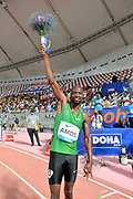 Nijel Amos (RSA) poses after winning the 800m in 1:44.29 during the IAAF Doha Diamond League 2019 at Khalifa International Stadium, Friday, May 3, 2019, in Doha, Qatar