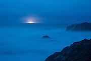 Fishing Boat at night off the Sonoma Coast near Bodega Bay, California