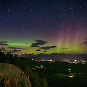 The northern lights faintly visible from Cathedral ledge in North Conway, NH