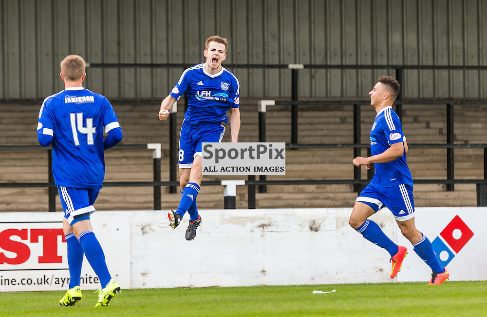 Jamie Redman celebrates his goal during the Scottish League 1 fixture between Ayr Utd and Peterhead (c) ROSS EAGLESHAM | Sportpix.co.uk