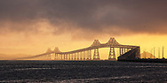 Richmond-San Rafael Bridge on a December sunrise.  Printed on archival smooth matte paper, 22x12 inches, catalog _7146.  <br /> Limited Edition of 25