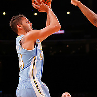 06 October 2013: Denver Nuggets shooting guard Evan Fournier (94) takes a jumpshot during the Denver Nuggets 97-88 victory over the Los Angeles Lakers at the Staples Center, Los Angeles, California, USA.