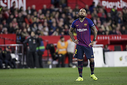 January 23, 2019 - Seville, Spain - ARTURO VIDAL of Barcelona laments after missing a chance at goal during the King's Cup quarter-final first leg soccer match between Sevilla FC and FC Barcelona at Sanchez Pizjuan Stadium (Credit Image: © Daniel Gonzalez Acuna/ZUMA Wire)