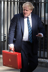 Downing Street, London, July 19th 2016. Foreign and Commonwealth Secretary Boris Johnson arrives at the first full cabinet meeting since Prime Minister Theresa May took office.