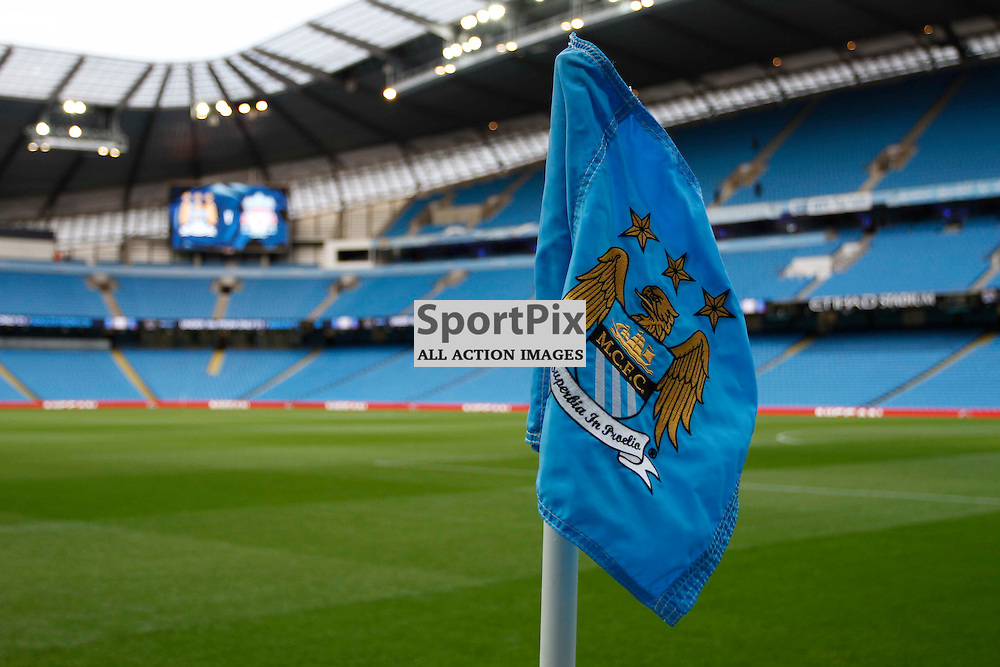 Manchester corner flag during Manchester City vs Liverpool, Barclays Premier League, Saturday 21st November 2015, Etihad Stadium, Manchester