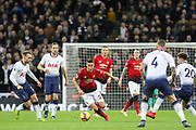 Manchester United Midfielder Ander Herrera battles with Christian Eriksen midfielder of Tottenham Hotspur (23) during the Premier League match between Tottenham Hotspur and Manchester United at Wembley Stadium, London, England on 13 January 2019.