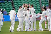Lancashire's Kyle Jarvis celebrates taking the wicket of Somerset's Marcus Trescothick during the Specsavers County Champ Div 1 match between Somerset County Cricket Club and Lancashire County Cricket Club at the County Ground, Taunton, United Kingdom on 3 May 2016. Photo by Graham Hunt.