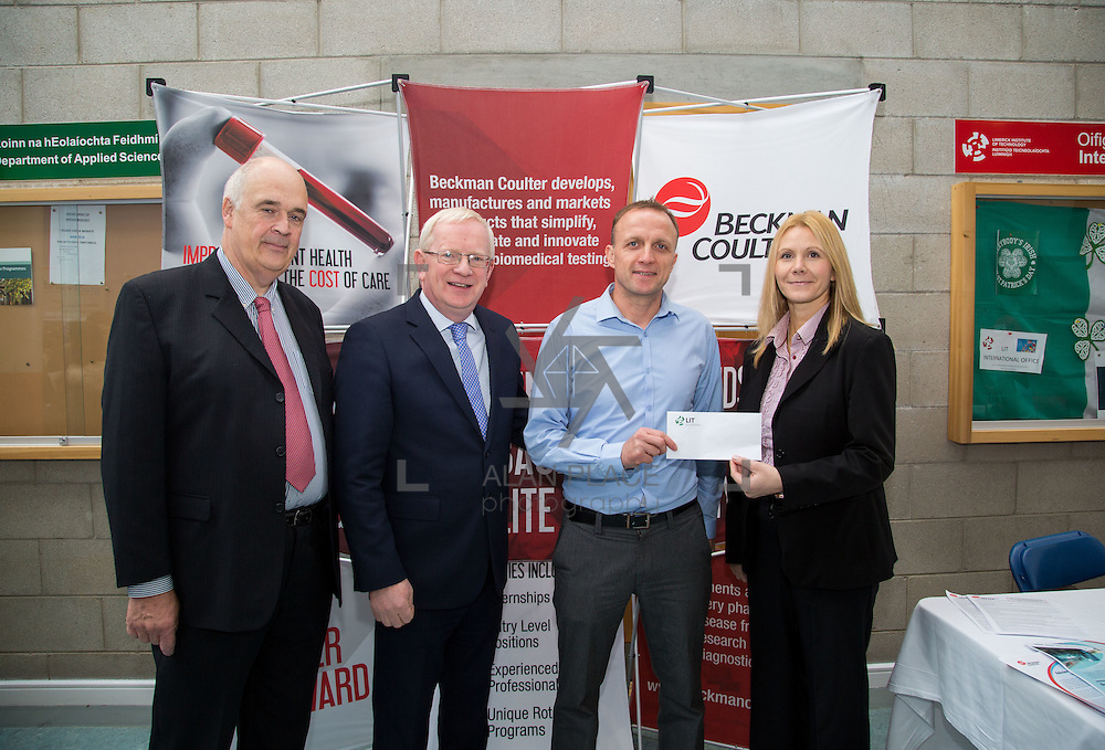 11.10.2016           <br /> Beckman Coulter Scholarship Limerick Institute of Technology. <br /> Pictured are left to right, Patrick Power, Regional Development Beckman Coulter, Vincent Cunnane, President LIT, Eamon Heaney, 4th year student Bio Analysis and Biotechnology and Karen Kelly, HR manager, Beckman Coulter. Picture: Alan Place