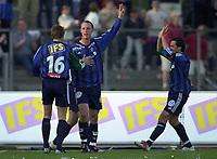 Bærum 21042003 Eliteserien i fotball Stabæk - Odd. Stabækspiller Thomas Finstad jubler etter scoring.<br /> <br /> Foto: Andreas Fadum, Digitalsport