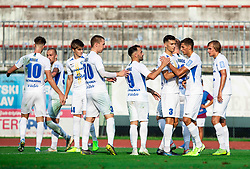 Players of Celje celebrate after sixth goal during football match between NK Triglav and NK Celje in 7th Round of Prva liga Telekom Slovenije 2019/20, on August 25, 2019 in Sports park, Kranj, Slovenia. Photo by Vid Ponikvar / Sportida
