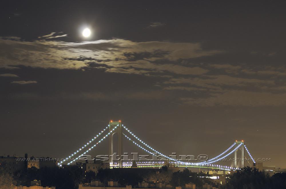 Moon and Verrazano Narrows Bridge